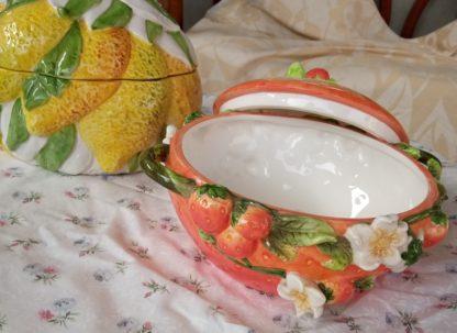 soupière décorative - fraise ouverte